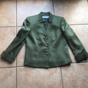 Tahari ASL Olive Green Snap Front Blazer Size 4P